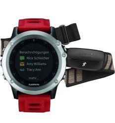 Часы FĒNIX® 3 HRM Серебряный с красным ремешком и пульсометром
