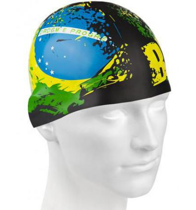 Силиконовая шапочка для плавания BRAZIL