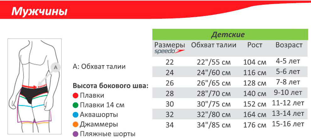 Таблица размеров плавок Speedo